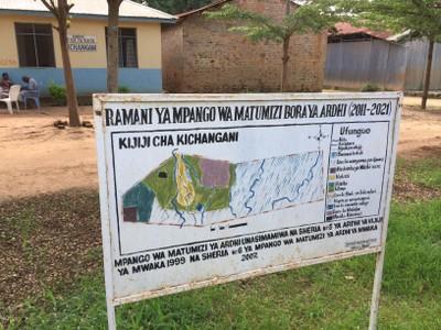 Village Land Use sign outside the village office in Kichangani village, Ulanga district, Morogoro region. Photo: Robin Biddulph